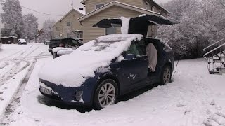 Download Model X opening falcon doors with snow Video