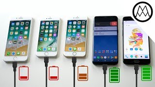 Download iPhone 8 vs Galaxy S8 vs Oneplus 5 - Battery Charging Speed Test Video