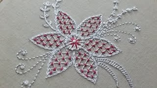Download Hand embroidery of a flower pattern with net stitch Video