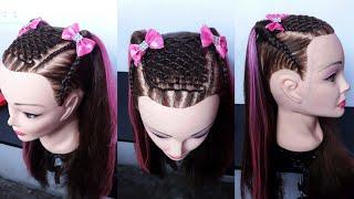 Download Peinados infantiles para niña - peinado tejido de malla con 2 medias colas Video