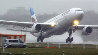 Download Storm Benjamin - rainy crosswind landings and take-offs - A380, A340, A330, B767 Sturmtief Benjamin Video