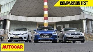 Download Hyundai Elantra VS Toyota Corolla Altis VS Skoda Octavia | Comparison Test | Autocar India Video