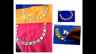 Download Mirror & Stone Work Neck Designing on Blouse/ Churidar / Kurti -Very Simple & Easy making at home Video