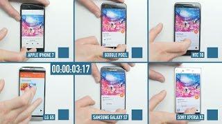 Download Smartphone speed test: Google Pixel vs iPhone 7 vs Samsung S7 vs HTC 10 vs Sony Xperia XZ vs LG G5 Video