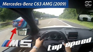 Download Mercedes-Benz C63 AMG (2009) (VS BMW M5) on German Autobahn - POV Top Speed Drive Video