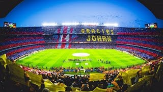 Download Mosaic and tribute to Johan Cruyff before kick off at the Clasico Video