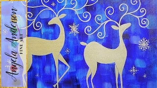Download Whimsical Reindeer Acrylic Painting Tutorial LIVE Christmas Canvas Art Video