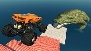 Download Jumping Crashes&Deadly Fall from the Stairs - Beamng drive (Giant Crocodile) Video