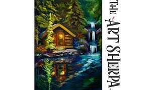 Download How to paint a Cabin by a Lake waterfall and reflection in Acrylic Paint Video