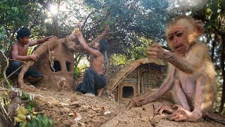 Download Build monkey's house for Cutest Monkey baby using wood and mud |Primitive Technology,Building Skill Video