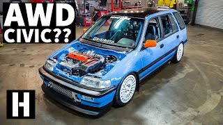 Download AWD Swapped Turbo Honda Civic EF Party Wagon! Video