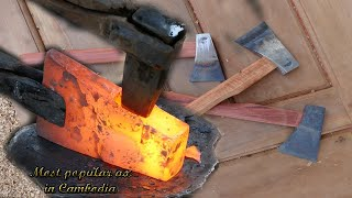 Download Making Cambodia's most popular ax by blacksmiths and carpenter Video