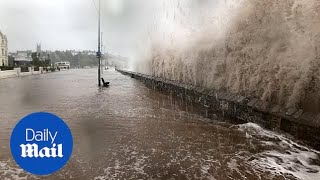 Download Waves pound the seafront at Exmouth during Storm Callum Video