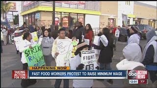Download Fast food workers protest to raise minimum wage Video