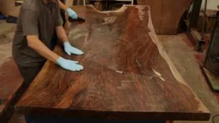 Download Finishing a STUNNING Claro Walnut Dining Table Top Live Edge Slab with a Hand Applied Oil Finish Video