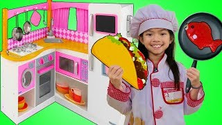 Download Emma Pretend Play w/ Cute Pink Kitchen Restaurant Toy Cooking Food Kids Playset Video