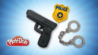 Download Play Doh Police Stuff for Kids. DIY Toys Gun, Handcuffs & Police Badge. DIY for Kids. Learn Colors Video