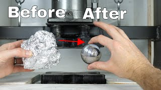 Download Mirror-Polished Japanese Foil Ball Challenge Crushed in a Hydraulic Press-What's Inside? Video