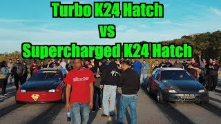 Download Turbo K24 Civic Hatch vs Supercharged K24 Hatch $8000 Pot Video