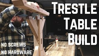 Download Indestructible Farm House Trestle Table w/ Old School Joinery // Woodworking // How To Video