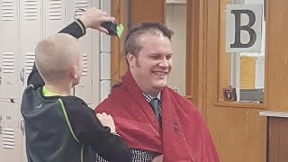 Download Principal Shaves Head For Bullied 6th Grader Whose Grandfather Has Cancer Video