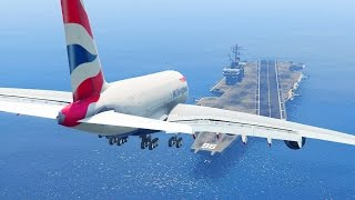 Download GTA 5 - LANDING GIGANTIC A380 ON THE AIRCRAFT CARRIER (GTA 5 Funny Moment) Video
