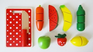 Download Wooden toy velcro cutting fruit cooking playset Video