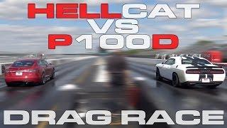 Download 707HP Challenger Hellcat vs Tesla Model S P100D Heads up 1/4 Mile Drag Race Video