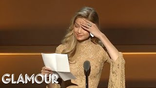 Download Gigi Hadid Gives Emotional Speech Receiving Her WOTY Award from Serena Williams | Glamour WOTY 2017 Video
