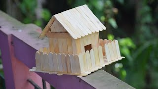 How to make a popsicle stick house - Wooden Diy House Free