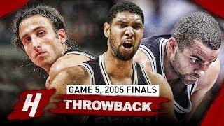 Download Tim Duncan, Tony Parker & Manu Ginobili Game 5 Highlights vs Pistons 2005 NBA Finals - EPIC Night! Video