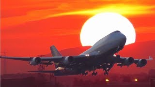 Download FRA Frankfurt Airport - Sunset Plane Spotting with A380, B747, A320 neo from spot at highway A5 Video