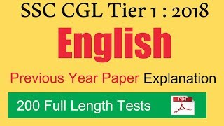 Download SSC CGL 2018 Tier 1 | Previous Year 2017 English Paper Explanation | 200 Full Length Tests Video