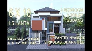 Download tren rumah minimalis split level 1.5 lantai 6x10 meter di lahan 6x12 meter 3 kamar 3 toilet gudang Video