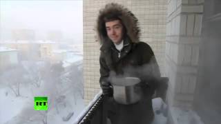Download Crazy Russian Winter: What happens to boiling water at -41C? Video