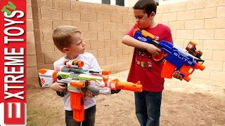 Download Nerf Blaster Madness! Ethan and Cole Nerf Modulus mess! Video