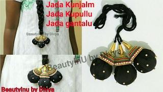 Download Hair Accessories : Silk Thread Jada Kunjalam / Jada Kupullu / Jada gantalu making at Home Video
