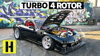 Download Savage 1000hp Turbo Four Rotor RX-7 Sounds Like an Angry F1 Car Video