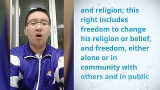 Download Chang Liu, China, reading article 18 of the Universal Declaration of Human Rights Video