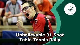 Download Unbelievable 91 Shot Table Tennis Rally Video