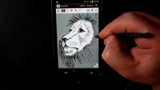 Download Samsung Galaxy Note 2 sketch an amazing lion's face S-pen Video