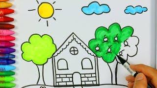 Download Dibujar casa y el sol juego de pintar con Que llueva cancion🏡|Cómo dibujar y colorear los para niños Video