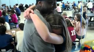 Download Step-dad surprising daughter at school lunch Video