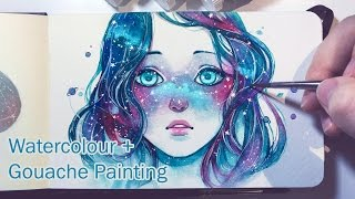 Download Starred Freckles - Watercolor + Gouache Painting Timelapse Video