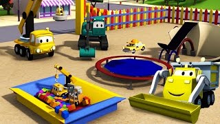 Download Construction Squad: Dump Truck, Crane and Excavator build a Trampoline for the babies in Car City Video