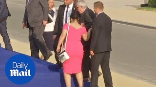 Download Jean-Claude Juncker stumbles and is helped by leaders at NATO gala Video