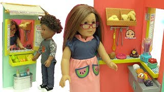 Download American Girl Doll Works At Big Fruit Stand Playset & Makes Food For Customers + Blind Bags Video