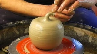 Download Making / Throwing a ceramic clay pottery Apple on the wheel Video