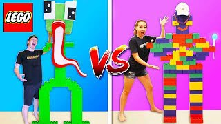 Download GIRLFRIEND vs UNSPEAKABLE LEGO BUILD BATTLE! Video