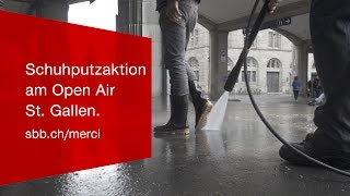 Download Schuhputzaktion von SBB Railclean und @ok.- am Open Air St. Gallen. Video